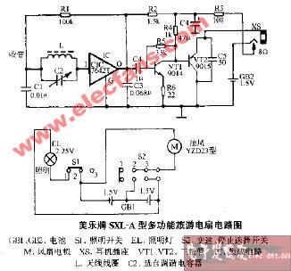 美乐牌sxl-a型多功能旅游电扇电路图