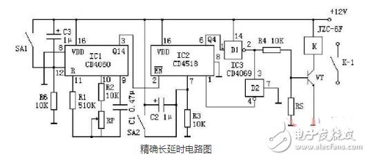 1到10s可调延时电路图大全(cd4060/ne555时基集成延时