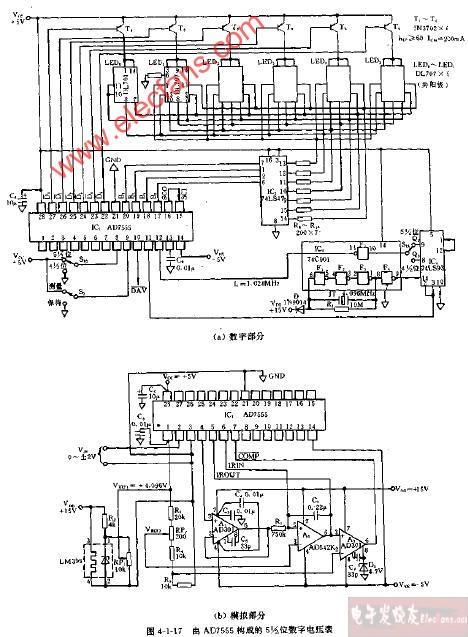 由ad7555构成的5,1 2位数字电压表电路图